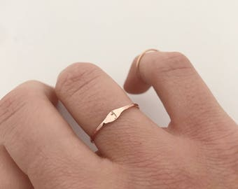 Personalized Initial Ring. Rose Gold Stacking Ring. Dainty Ring. Rose Gold Filled Ring. Delicate Ring. Thin Rose Gold Ring.