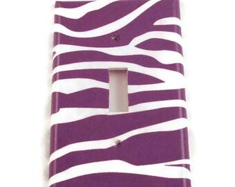 Light Switch  Single Switchplate Switch Plate in Funky  Zebra Purple  (088S)