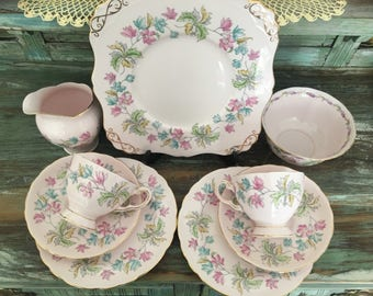 Gorgeous pale pink tuscan tea for two set
