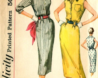 1957 MISSES 1-PIECE DRESS Pattern Simplicity 2340 Size 14 Slim Mid-Century Fashion Vintage Sewing