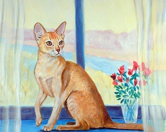 Abyssinian Cat Giclee Fine Art Print by Lyn