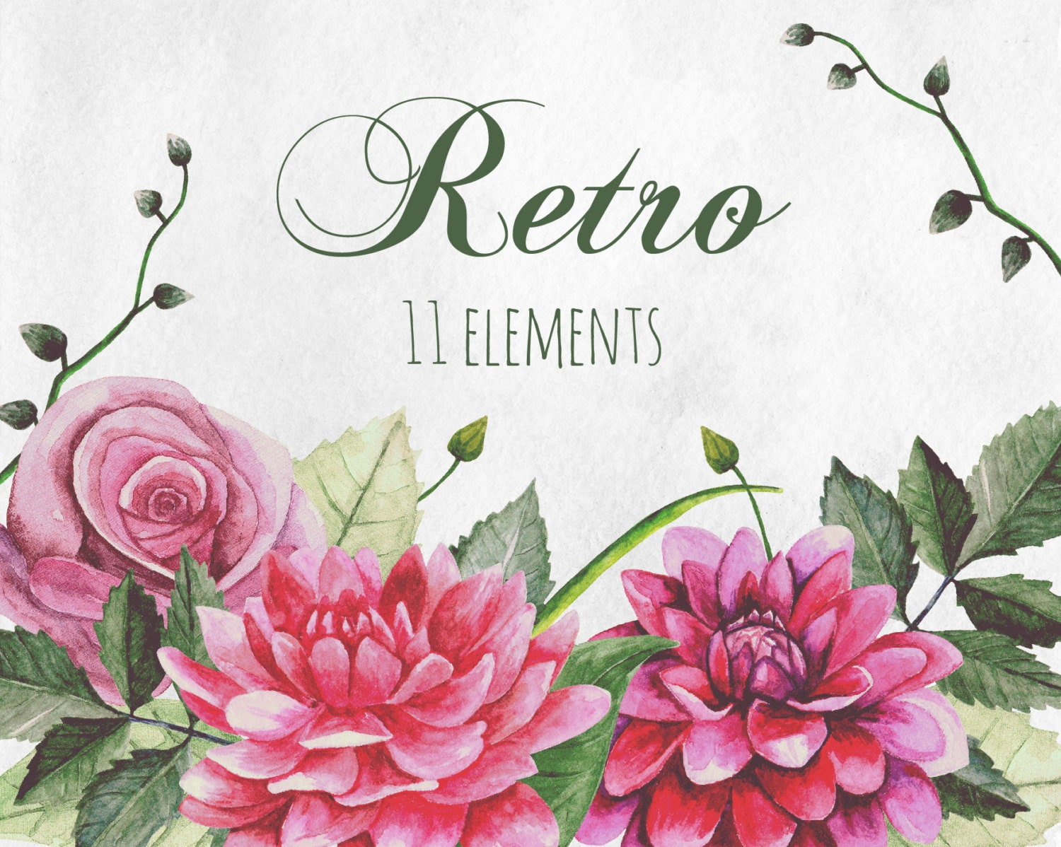 Retro flowers clip art watercolor vintage flowers boho clipart for Imagenes retro vintage