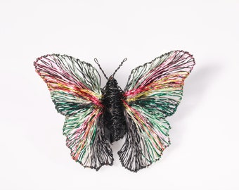 Black butterfly brooch, wire sculpture, insect art, large brooch, statement, contemporary, rainbow, modern boho, Spring, mothers day gift