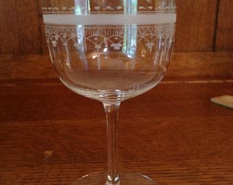 Vintage Wine or Water Glasses - Set of 2 - Eyched Teardop Design