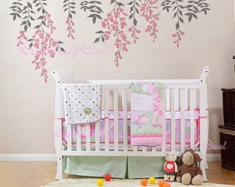 Branch wall decal nursery wall decals vinyl vine wall sticker birdcage birds wall decor mural - pink vines DK024 & Branch wall decal nursery wall decals vinyl vine wall sticker