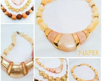 Vintage Necklace Lot Including Fabulous 1980s Napier Yellow & Gold Moonglow Enamel Necklace