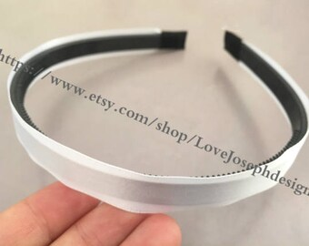 New 10pieces white satin plastic hair headband covered 10mm wide(#0516)