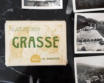 """Vintage 1940s WW II Souvenir Photos 10 Black & White La Cite Des Fleurs Grasse, France Les Editions """"MAR"""" 4, Boul.De Cimiez Nice"""