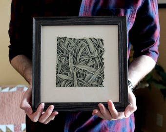 Botanical II - Original Artwork, Grass Drawing, Framed Art, Micron Pen, Botanical Drawing, Nature Art