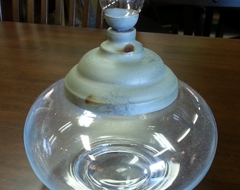 Round Glass Apothecary Jar w/ Funky Metal Lid