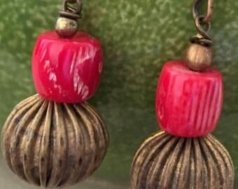 Coral and Vintage Bead Pierced Earrings