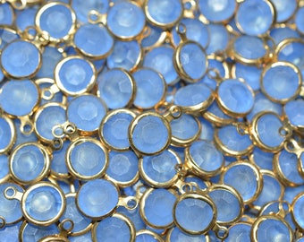 4 - 8mm Vintage Swarovski Crystal Channels with Single Gold Loop - Frosted Lt Sapphire (2040543)
