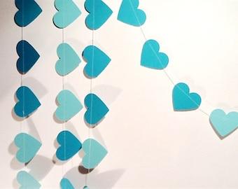 Paper Heart Garland. Sea Foam Green. Wedding - Engagement - Home Decor - Table Decoration.