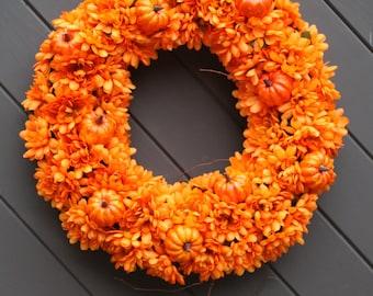Orange Fall Wreath, Pumpkin Wreath, Modern Fall Wreath, Thankgiving Wreath, Front Door Wreath, HALLOWEEN Wreath, Autumn Wreath for Door
