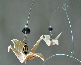"Handmade Delicate Mobile, Origami Cranes ""Warm Elegance"" Romantic Decoration, Home, Embossed Paper"