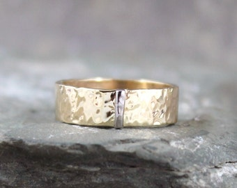 Hammered 14K Yellow Gold with 14K White Gold Vertical Bar Wedding Band - 6mm Wide - Mens or Ladies - Wedding Bands - Comittment Rings