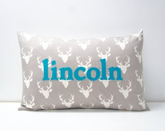 Custom Name Pillow Cover, 16x24, made to order, buck head print on grey