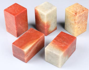 Free Shipping Chinese Stone Seal -3x3x5cm - Square - Red Orange - 10 Pcs Set - Seal Stamp Engraving Stone Soapstone 0013 Orientalartmaterial