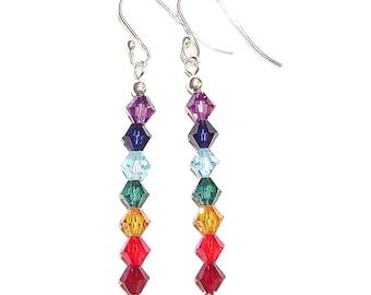 Swarovski & Sterling Silver Chakra Earrings