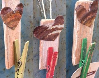 3 Salvaged Wood Clothespin Art Wall Decor--Set of 3--Message Picture Holder--Rustic Chippy OOAK Mixed Media Art