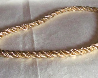 Vintage Heavy Gold Filled Twisted Rope Chain Necklace