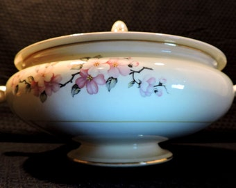 Beautiful Homer Laughlin Footed Cream Soup Bowl with Cover in the Apple Blossom Pattern