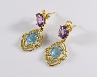 Unique Vintage 14K Yellow Gold Topaz and Amethyst Earrings