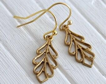 Brass Leaf Earrings .. leaf earrings, brass earrings, simple earrings, small earrings, everyday jewellery