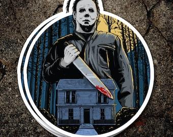 Halloween Sticker (Michael Myers John Carpenter horror movie decal Jamie Lee Curtis laptop iphone tablet decoration)