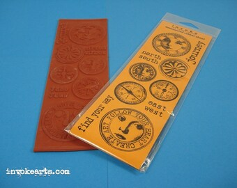 Find Your Way / Invoke Arts Collage Rubber Stamps / Unmounted Stamp Set