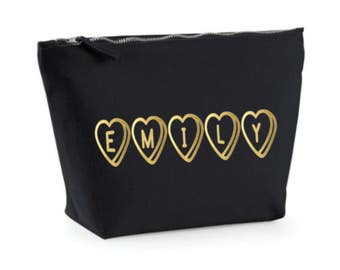 Custom Make Up Bag, Love Heart Gold Cosmetic Bag, Make Up Case, Friend Gift, Make Up Case, Black and Gold, Toiletry Bag, Bridesmaid Gift