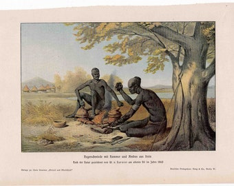 1900 PREHISTORIC NATIVE MEN print with tools original antique culture lithograph