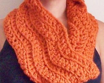 Crochet Circle Scarf, Crochet Cowl, Crochet Neck Warmer, Pumpkin Cowl