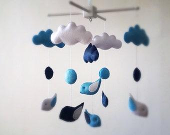 Crib Mobile, Navy Blue Baby Mobile, Crib Baby Mobile, Hanging Baby Mobile, Birds and Clouds Baby Mobile READY TO SHIP