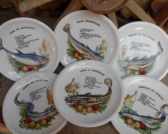 Set of Six French Vintage 'Recettes de Poisson' (Fish Recipe)  Plates.