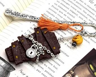 Bookmark halloween coffin, original gift, bookmark, metal, skull head, large bookmark polymer clay coffin padlock brand-book