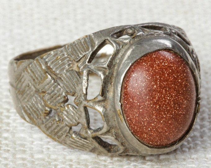 Orange Sparkle & Silver Vintage Afghan Ring Handmade in Afghanistan US Size 9 Unisex Old Oval Patterned Tribal Ethnic Statement Ring 7I