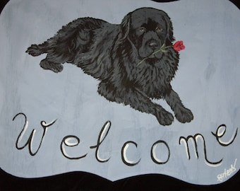 Newfoundland Dog Custom Painted Welcome Sign Plaque Home decor wall decor