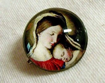 Madonna and child lapel pin/brooch - BR07-049