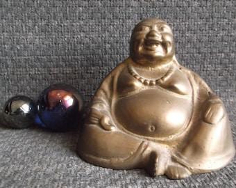 vintage brass Laughing Buddha