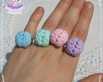 Creepy brains rings pastel goth creepy cute