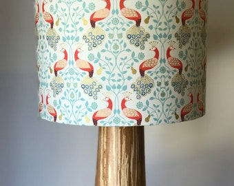 Metallic lamp shade etsy cream metallic peacock design drum lampshade aloadofball Gallery