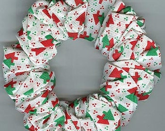 Christmas Hair Scrunchie Tiny Red and Green Xmas Trees and Mini Polka Dots on White SALE