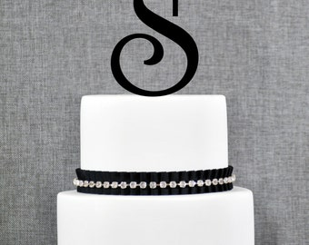 Letter S Monogram Initial Cake Toppers, Personalized Initial Wedding Cake Toppers,  Elegant Custom Cake Topper