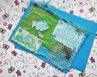 Mixed Media Sea Themed Birthday Card, Sea Glass, Embossed foil, sequins, beads, fibres. Art Card, mixed media art, Loch Fyne, Scotland