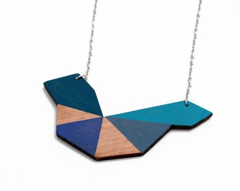 Geometric polygon wooden necklace - navy blue, turquoise, grey blue, natural wood - minimalist, modern jewelry - color blocking