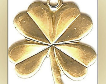 12 Four Leaf Clover Shamrock Raw Brass Charms