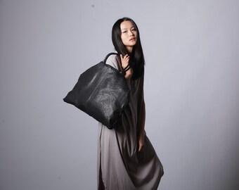 Oversized Handbag, Large Black Leather Bag, Large Purse, Leather Handbag, Shoulder Bag, Travel Bag, Large Crossbody Bag, Oversized Crossbody
