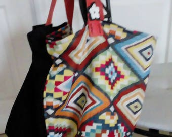 Tote bag, colorful fabric and velvet