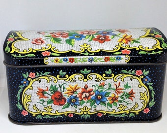 Needlepoint Themed Tin, English Tea Tin by Daher, Florals on Black Tin, Vintage Tin, Oblong Tin, Pink Blue Floral Tin